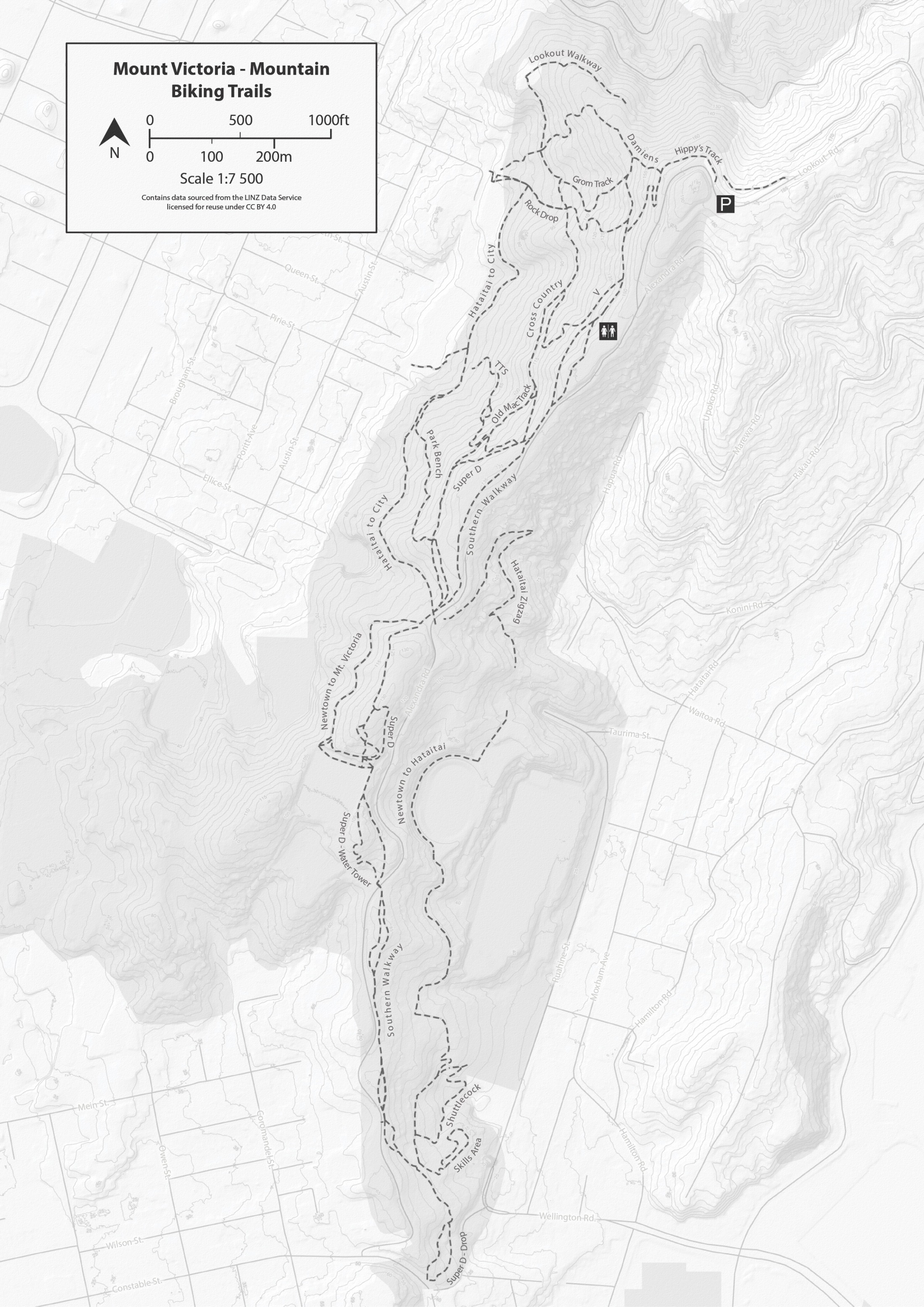 black-white-mountain biking map